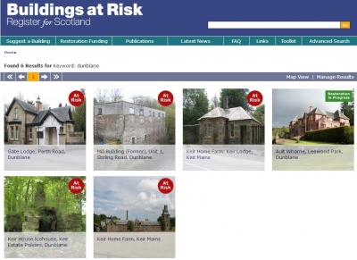 Dunblane has many 'Listed Buildings' and a few considered to be 'Buildings At Risk'