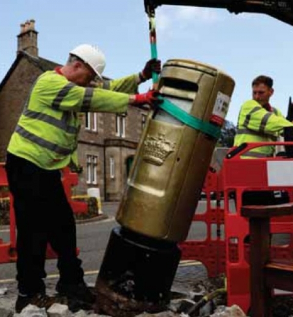 Gold Post Box takes a tumble but back up within 24hrs